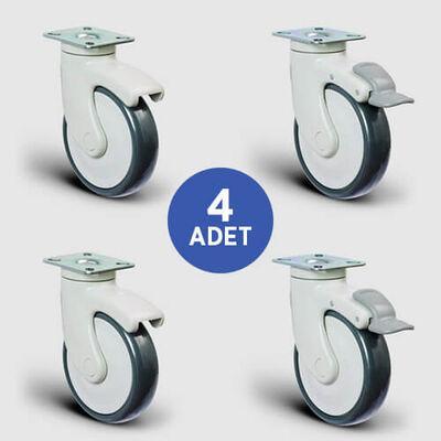 EMES - 2 Adet EC01MBT125 Döner Tablalı + 2 Adet EC01MBT125F Döner Tablalı Frenli Plastik Maşalı Çap:125 Medikal Ekipman Tekerleği Bilya Rulmanlı 4lü Set 2xEC01MBT125+2xEC01MBT125F
