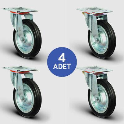 EMES - 2 Adet EG01SBR250 Döner Tablalı + 2 Adet EG01SBR250F Döner Tablalı Frenli Kauçuk Tekerlek Çap:250 Rulmanlı Taşıma Arabası Tekerlek Seti 2xEG01SBR250+2xEG01SBR250F