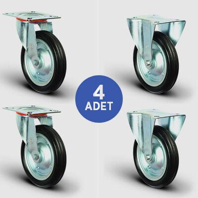 EMES - 2 Adet EG01SBR250 Döner Tablalı + 2 Adet EG02SBR250 Sabit Maşalı Kauçuk Tekerlek Çap:250 Rulmanlı Taşıma Arabası Tekerlek Seti 2xEG01SBR250+2xEG02SBR250