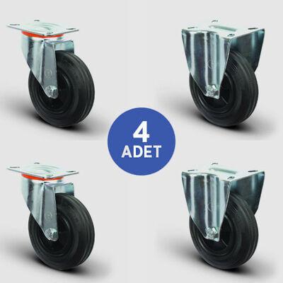 EMES - 2 Adet EM01MKR200 Döner Tablalı + 2 Adet EM02MKR200 Sabit Maşalı Plastik-Kauçuk Tekerlek Çap:200 Çöp Konteyner Tekerleği Oynak Tabla Bağlantılı Burçlu 2xEM01MKR200+2xEM02MKR200