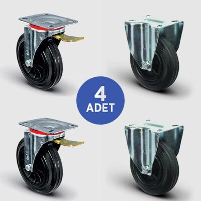 EMES - 2 Adet EM01MKR200F Döner Tablalı Frenli + 2 Adet EM02MKR200 Sabit Maşalı Plastik-Kauçuk Tekerlek Çap:200 Çöp Konteyner Tekerleği Oynak Tabla Bağlantılı Burçlu 2xEM01MKR200F+2xEM02MKR200