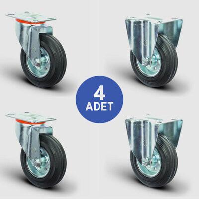 EMES - 2 Adet EM01SPR200 Döner Tablalı + 2 Adet EM02SPR200 Sabit Maşalı Kauçuk Tekerlek Çap:200 Çöp Konteyner Tekerleği Oynak Tabla Bağlantılı Burçlu 2xEM01SPR200+2xEM02SPR200