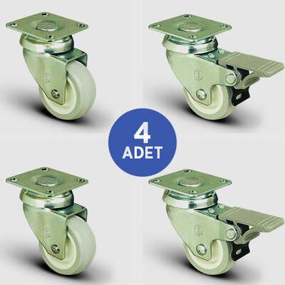 EMES - 2 Adet EP01ZKC75 Döner Tablalı + 2 Adet EP01ZKC75F Döner Tablalı Frenli PVC Tekerlek Çap:75 Mobilya Tekerlek Seti 2xEP01ZKC75+2xEP01ZKC75F