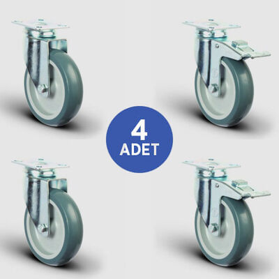 EMES - 2 Adet ER01MKT80 Döner Tablalı + 2 Adet ER01MKT80F Döner Tablalı Frenli Termoplastik Kauçuk Tekerlek Çap:80 Taşıma Arabası Tekerlek Seti 2xER01MKT80+2xER01MKT80F