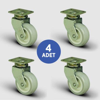 EMES - 4 Adet EB01ZKC50, Oynak Tablalı PVC Kaplı Mobilya Tekerleği, Sehpa Tekeri, Çap:50, 4lü Set