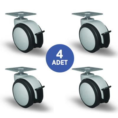 EMES - 4 Adet EC01MKT75F, Oynak Tablalı Frenli Mobilya Tekerleği Sehpa Tekeri, Çap:75, 4lü Set, Geniş Sessiz Tip