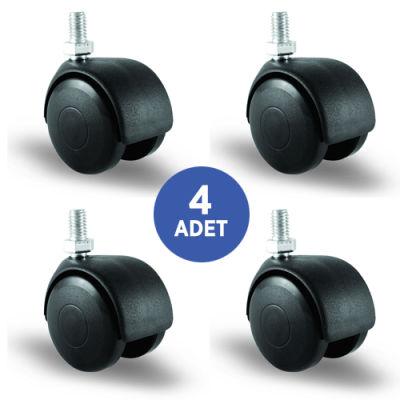 EMES - 4 Adet EC05MKM50, Oynak Civatalı Mobilya Tekerleği Koltuk Tekeri, Çap:50, 4lü Set