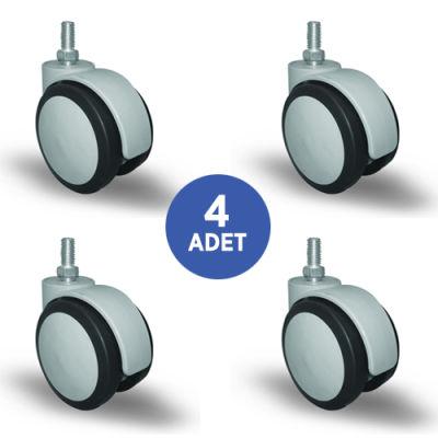 EMES - 4 Adet EC05MKT75, Oynak Civatalı Mobilya Tekerleği Sehpa Tekeri, Çap:75, 4lü Set, Geniş Sessiz Tip