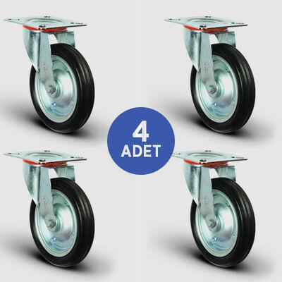 EMES - 4 Adet EG01SBR250 Döner Tablalı Kauçuk Tekerlek Çap:250 Rulmanlı Taşıma Arabası Tekerlek Seti 4xEG01SBR250