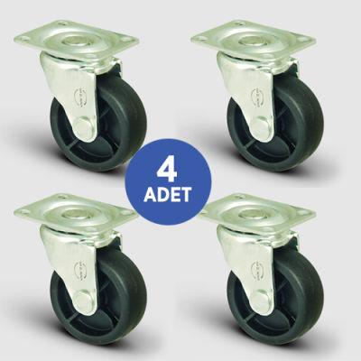 EMES - 4 Adet EL01MKM28, Oynak Tablalı Mobilya Tekerleği, Sehpa Tekeri, Çap:28, 4lü Set
