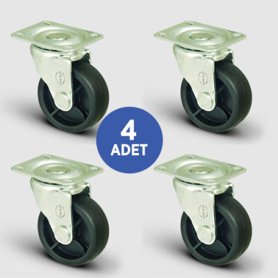 EMES - 4 Adet EL01MKM32, Oynak Tablalı Mobilya Tekerleği, Sehpa Tekeri, Çap:32, 4lü Set