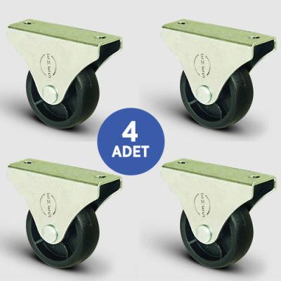 EMES - 4 Adet EL02MKM28, Sabit Maşalı Mobilya Tekerleği, Sehpa Tekeri, Çap:28, 4lü Set