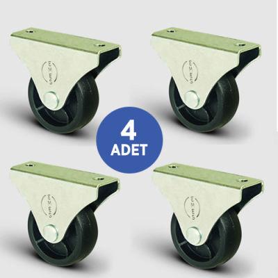 EMES - 4 Adet EL02MKM32, Sabit Maşalı Mobilya Tekerleği, Sehpa Tekeri, Çap:32, 4lü Set