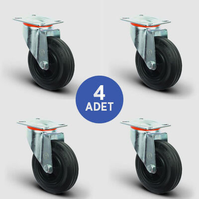 EMES - 4 Adet EM01MKR200 Döner Tablalı Plastik-Kauçuk Tekerlek Çap:200 Çöp Konteyner Tekerleği Oynak Tabla Bağlantılı Burçlu 4xEM01MKR200