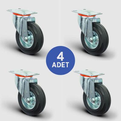EMES - 4 Adet EM01SPR200 Döner Tablalı Kauçuk Tekerlek Çap:200 Çöp Konteyner Tekerleği Oynak Tabla Bağlantılı Burçlu 4xEM01SPR200