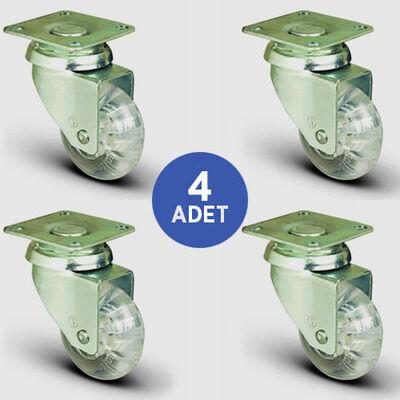 EMES - 4 Adet EP01DKP50 Döner Tablalı Şeffaf Tekerlek Çap:50 Mobilya Tekerlek Seti Çift Dizi Bilyalı 4xEP01DKP50