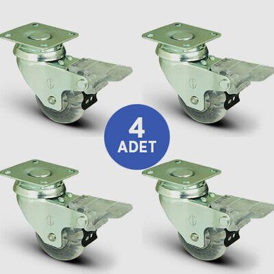 EMES - 4 Adet EP01DKP50F Döner Tablalı Frenli Şeffaf Tekerlek Çap:50 Mobilya Tekerlek Seti Çift Dizi Bilyalı 4xEP01DKP50F