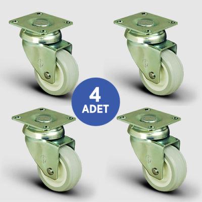 EMES - 4 Adet EP01ZKC50, Oynak Tablalı PVC Kaplı Mobilya Tekerleği, Sehpa Tekeri, Çap:50, 4lü Set, Çift Dizi Bilyalı Geniş Tip