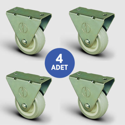 EMES - 4 Adet EP02ZKC50, Sabit Maşalı PVC Kaplı Mobilya Tekerleği, Sehpa Tekeri, Çap:50, 4lü Set, Çift Dizi Bilyalı Geniş Tip