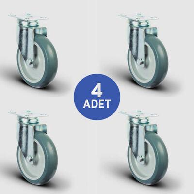 EMES - 4 Adet ER01MKT80 Döner Tablalı Termoplastik Kauçuk Tekerlek Çap:80 Taşıma Arabası Tekerlek Seti 4xER01MKT80