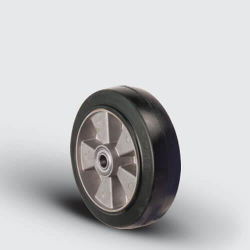 ABR125x35 Alüminyum Üzeri Kauçuk Transpalet Tekerleği, Çap:125, Bilya Rulmanlı