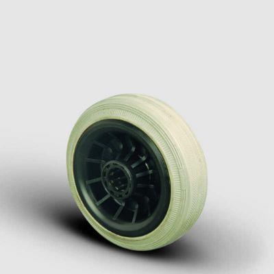 EMES - MKRG100x30 Gri Kauçuk Kauçuk Kaplı Tekerlek Çap:100 Burçlu Moblen Göbekli İz Bırakmaz Tekerlek Genişlik:30