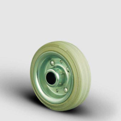 EMES - SPRG200x50 Gri Kauçuk Kauçuk Kaplı Tekerlek Çap:200 Burçlu Sac Jantlı İz Bırakmaz Tekerlek Genişlik:50