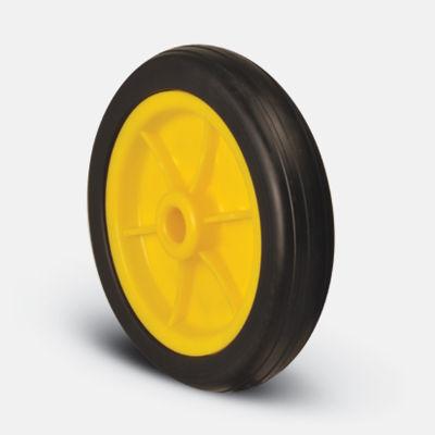 EMES - MKR200x40 Kırmızı/Sarı/Siyah Plastik Jantlı Kauçuk Kaplı Çap:200 Burçlu Tekerlek Genişlik:40