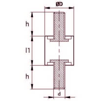 TCCP 3020 08 Çift Taraf Civatalı Titreşim Takozu Çap:30 Yükseklik:20, Pullu, 30x20 M8 Civatalı