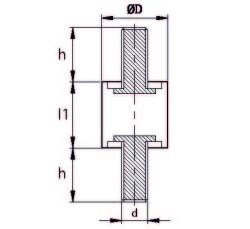 TCCP 5030 10 Çift Taraf Civatalı Titreşim Takozu Çap:50 Yükseklik:30, Pullu, 50x30 M10 Civatalı - Thumbnail