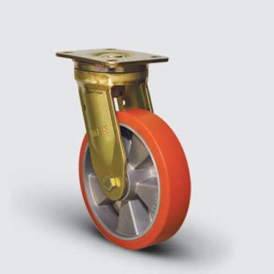 EMES - EA01ABP150 Döner Tablalı Alüminyum Poliüretan Kaplı Çap:150 Ekstra Ağır Sanayi Tekerleği Bilya Rulmanlı