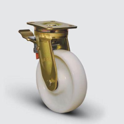 EMES - EA01HBZ250 Döner Tablalı Frenli Poliamid Tekerlekli Çap:150 Ekstra Ağır Sanayi Tekerleği Bilya Rulmanlı