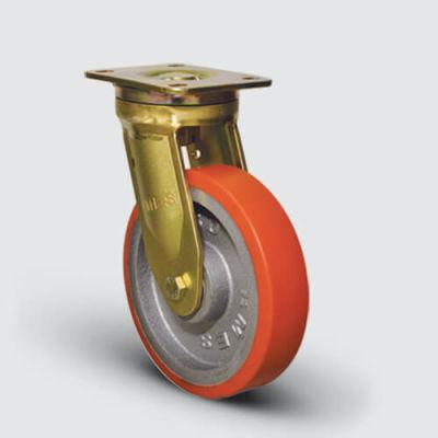 EMES - EA01VBP150 Döner Tablalı Döküm Poliüretan Kaplı Çap:150 Ekstra Ağır Sanayi Tekerleği Bilya Rulmanlı