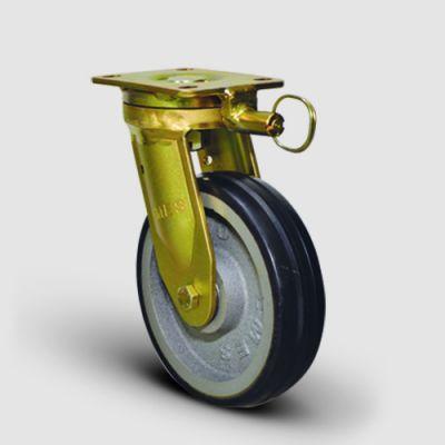 EMES - EA01VBR200Y Yön Kilitli Döküm Kauçuk Kaplı Çap:200 Ekstra Ağır Sanayi Tekerleği Bilya Rulmanlı