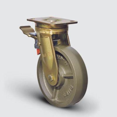 EMES - EA01VBV150F Döner Tablalı Frenli Döküm Tekerlekli Çap:150 Ekstra Ağır Sanayi Tekerleği Bilya Rulmanlı