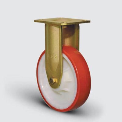 EMES - EA02ZBP150 Sabit Maşalı Poliamid Poliüretan Kaplı Çap:150 Ekstra Ağır Sanayi Tekerleği Bilya Rulmanlı
