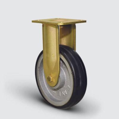EMES - EA02VBR150 Sabit Maşalı Döküm Kauçuk Kaplı Çap:150 Ekstra Ağır Sanayi Tekerleği Bilya Rulmanlı