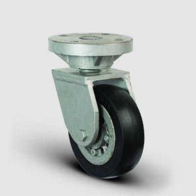 EMES - EH01VBR220 Döner Tablalı Döküm Üzeri Kauçuk Kaplı Tekerlek Çap:220 Lama Çatılı Ağır Sanayi Tekerleği Kaynak Maşa Oynak Tabla Bağlantılı Bilya Rulmanlı