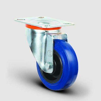 EMES - EM01ZMRm125 Döner Tablalı Mavi Elastik Kauçuk Tekerlek Çap:125 Hafif Sanayi Tekerleği, Oynak Tabla Bağlantılı, Masura Rulmanlı