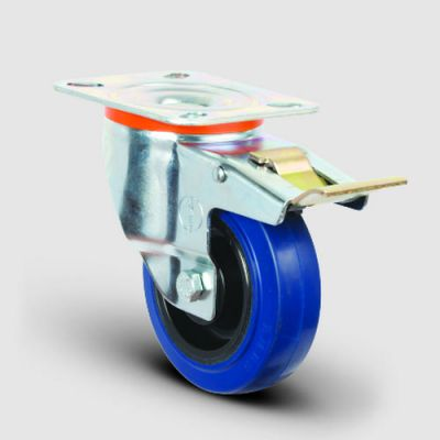 EMES - EM01ZMRm125F Döner Tablalı Frenli Mavi Elastik Kauçuk Tekerlek Çap:125 Hafif Sanayi Tekerleği, Oynak Frenli Tabla Bağlantılı, Masura Rulmanlı