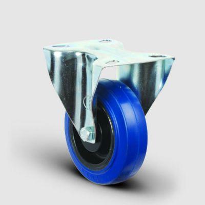 EMES - EM02ZMRm125 Sabit Maşalı Mavi Elastik Kauçuk Tekerlek Çap:125 Hafif Sanayi Tekerleği, Sabit, Tabla Bağlantılı, Masura Rulmanlı