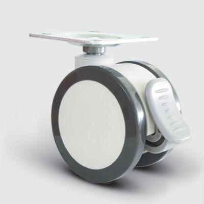 EMES - EQ01ZKP75F Döner Tablalı Frenli Plastik Maşalı Çap:75 Çift Kasnaklı Medikal Tekerlek Oynak Maşalı Kilitli