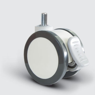 EMES - EQ05ZKP75F Döner Civatalı Frenli Plastik Maşalı Çap:75 Çift Kasnaklı Medikal Tekerlek Oynak Civata Bağlantılı Kilitli