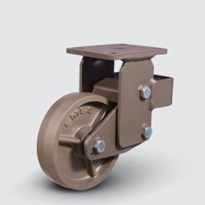 EMES - EVYm02VBV300 Sabit Kaynaklı Maşa Döküm Tekerlekli Kaplı Amörtisörlü Yaylı Çap:300 Çelik Döküm Maşa Büte ve Konik Rulmanlı Döküm(Sfero) Tabla Bilya Rulmanlı