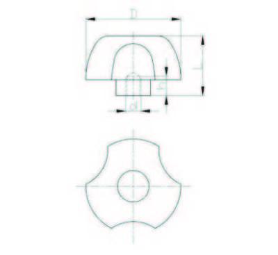 EMES - PYBK5010 Kırmızı Plastik Yonca Burçlu Çap:50 M10 Somunlu