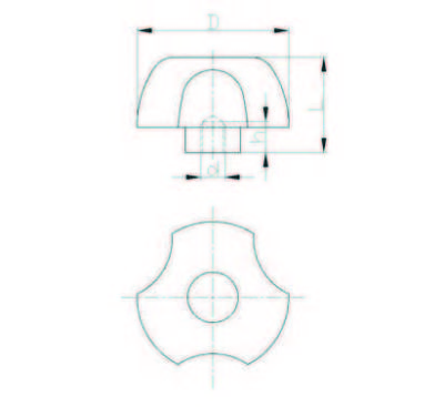 EMES - PYBK6312 Kırmızı Plastik Yonca Burçlu Çap:63 M12 Somunlu