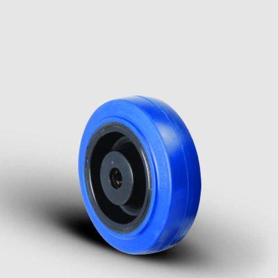 EMES - ZMRM125x37,5 Poliamid Jantlı Elastik Mavi Kauçuk Kaplı Tekerlek Çap:125 Masura Rulmanlı Genişlik:37,5