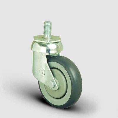 EMES - ES05MBR125 Oynak Civatalı Kauçuk Tekerlek Çap:125 Market Arabası Tekerleği Oynak Vida Bağlantılı Bilya Rulmanlı Polipropilen Üzeri Elastik Kauçuk Kaplı Gri Teker