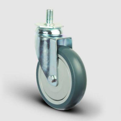 EMES - ER05MBT200 Oynak Civatalı Termoplastik Kauçuk Tekerlek Çap:200 Hafif Sanayi Tekerleği Oynak Vida Bağlantılı Bilya Rulmanlı Polipropilen Üzeri Termoplastik Kauçuk Kaplı Gri Teker