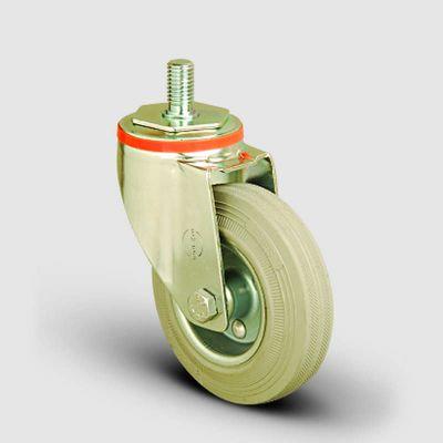 EMES - EM05SPRG100 Oynak Civata Bağlantılı Gri Kauçuk Tekerlek Çap:100 Hafif Sanayi Tekerleği Burçlu Oynak Vida Bağlantılı